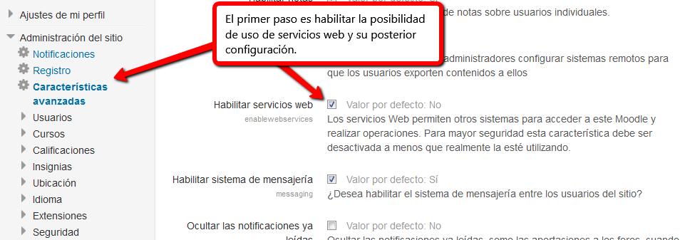 Habilitar servicios web