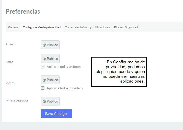 Privacidad visionado aplicaciones del perfil en jomsocial