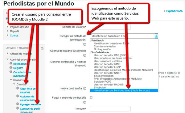 Usuario servicios web conexión Joomla! y Moodle 2