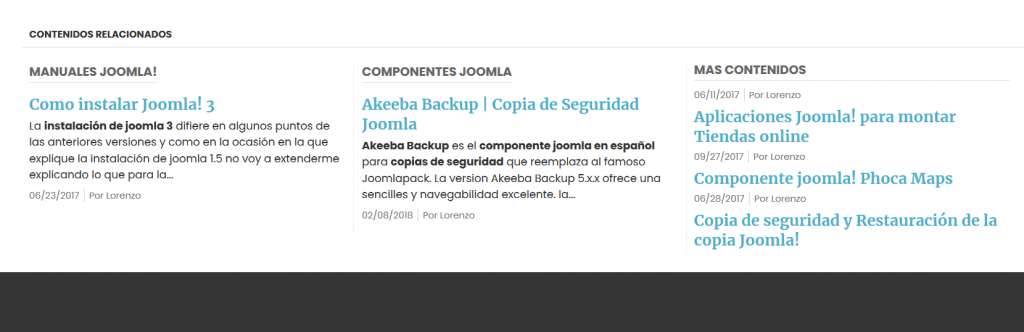 Plugin Joomla contenidos relacionados
