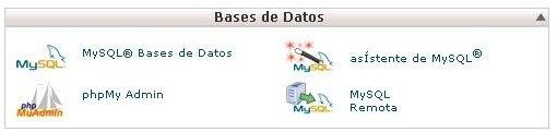 Cuadro Base de Datos de Cpanel