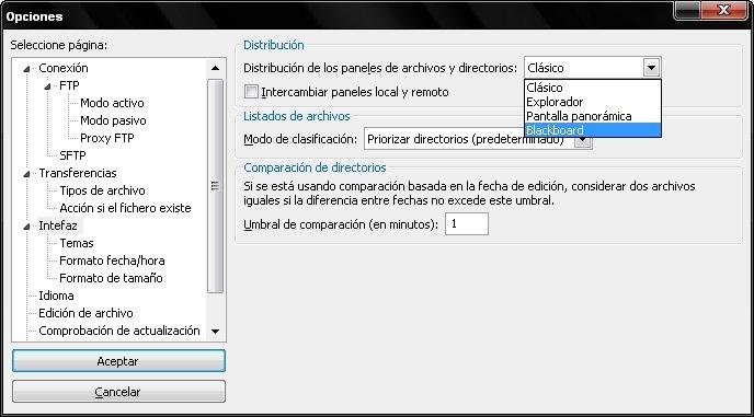 Configuración Filezilla