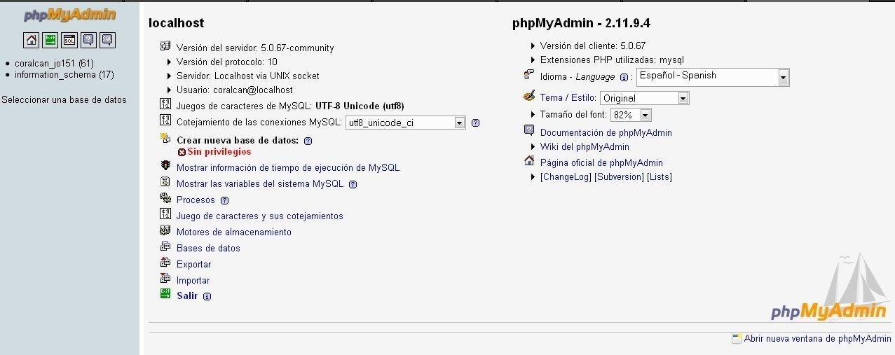 Vista de PHPMyAdmin