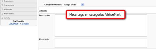 Meta tags categorias virtuemart
