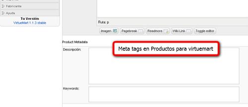 Meta tags productos virtuemart