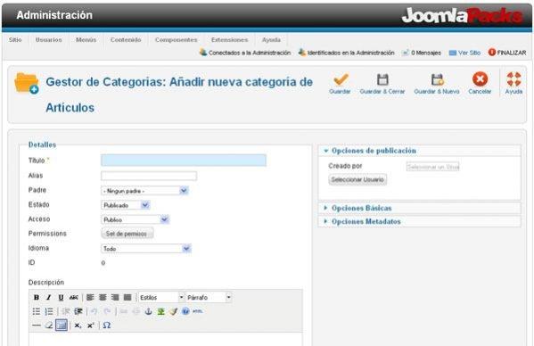 Vista categorias joomla 1.6