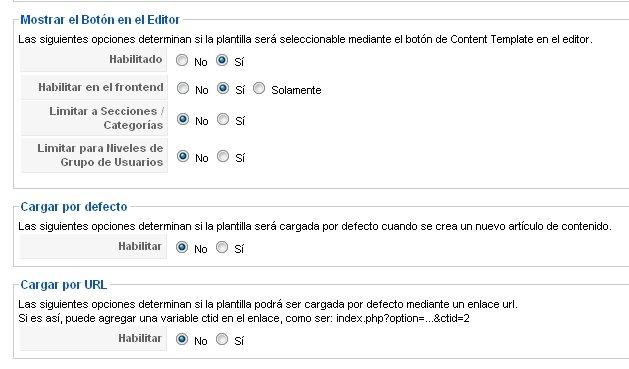 Opciones de presentación Content Templater