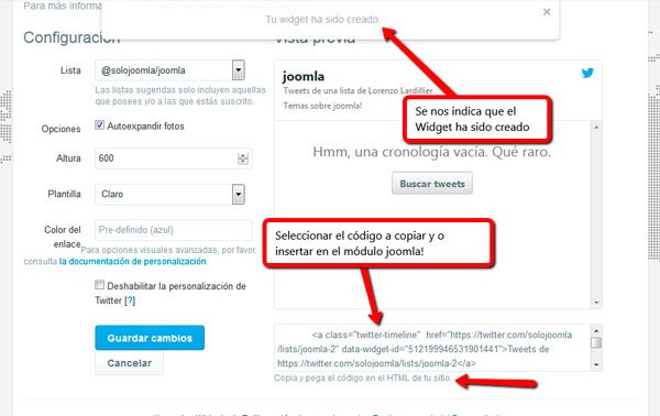 Lista widget twitter creada