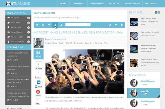 Template Magazine Blog Joomla 3.x