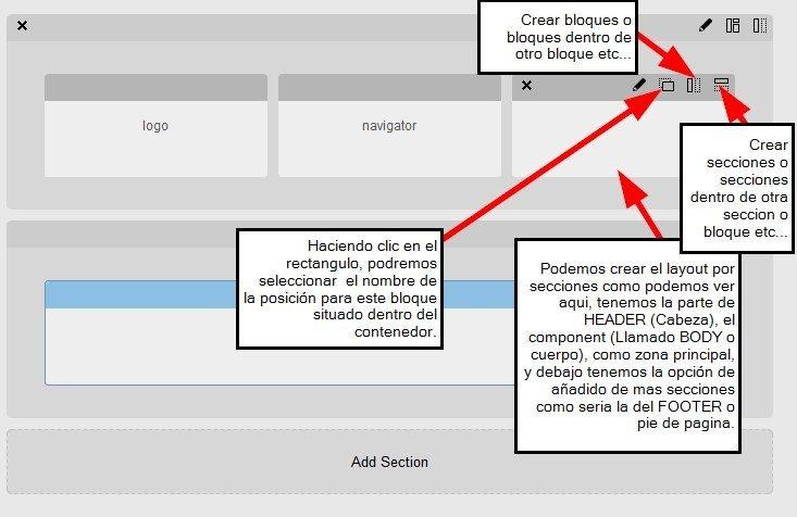 Secciones y Bloques del layout