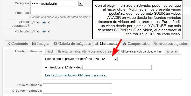 Plugin Allvideo instalado y activado