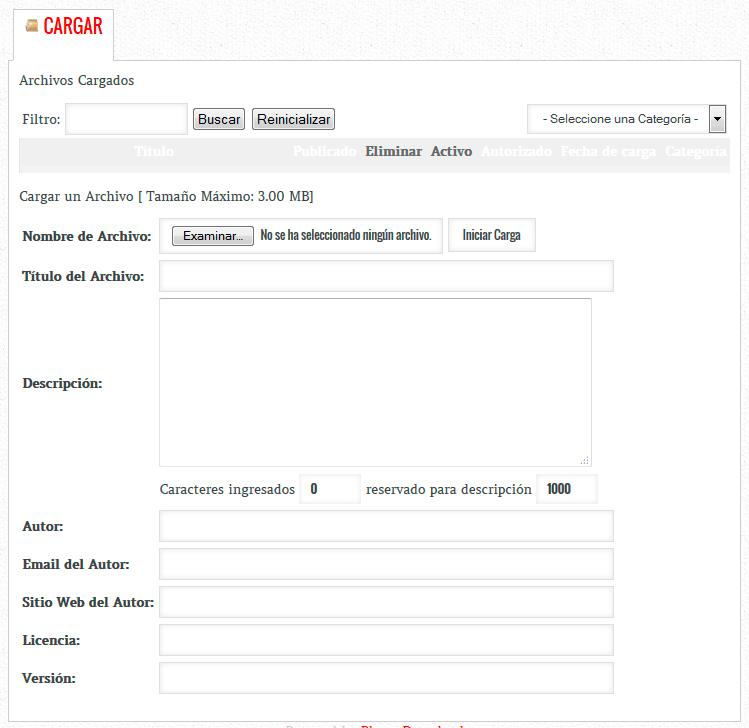 Vista detalle subir archivos