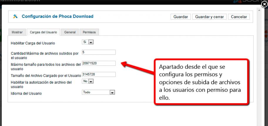 Opciones de usuarios y permisos en Phoca Download