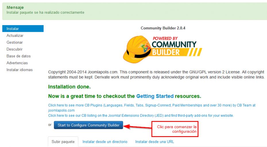 Configurar Community Builder