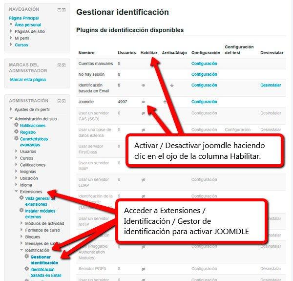 Activación extension Joomdle