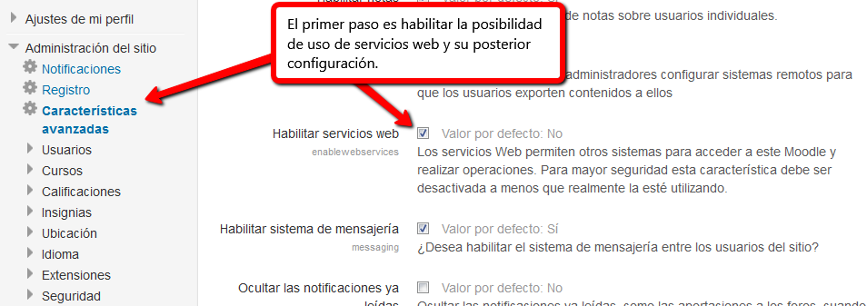 Habilitar servicios web en Moodle