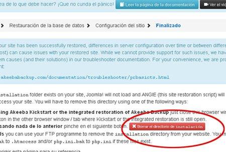 Borrar directorio de instalación copia Joomla