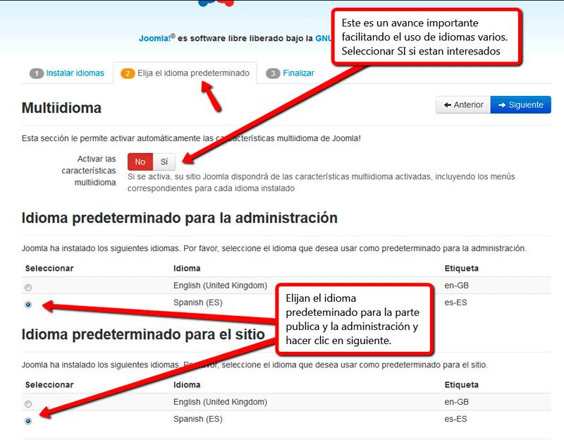 Web Multi idioma joomla