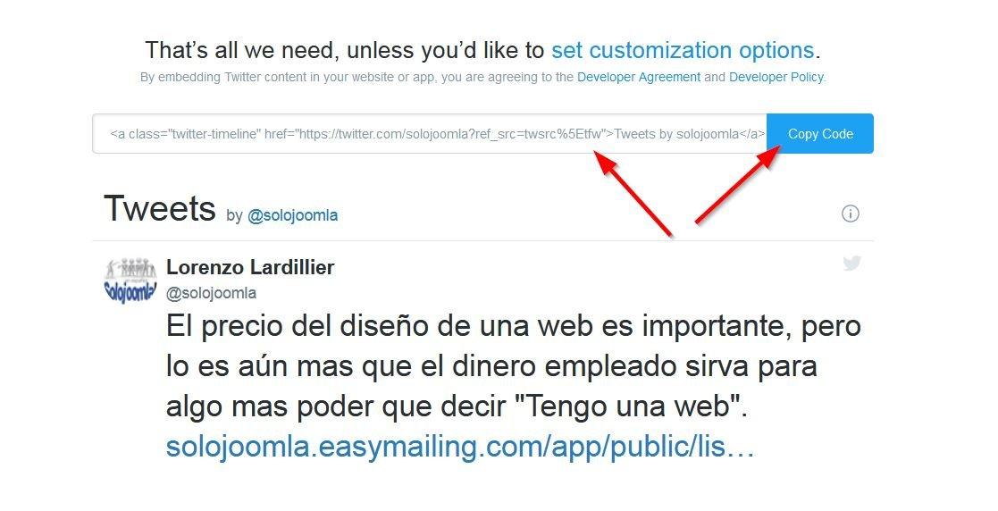 Código Twitter para publicar en tu web